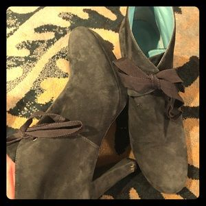 Boden Suede Lace Up Booties Size 7